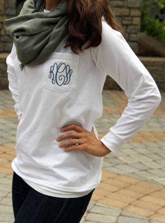 Monogram long sleeve pocket tee shirt for Long sleeve pocket shirts