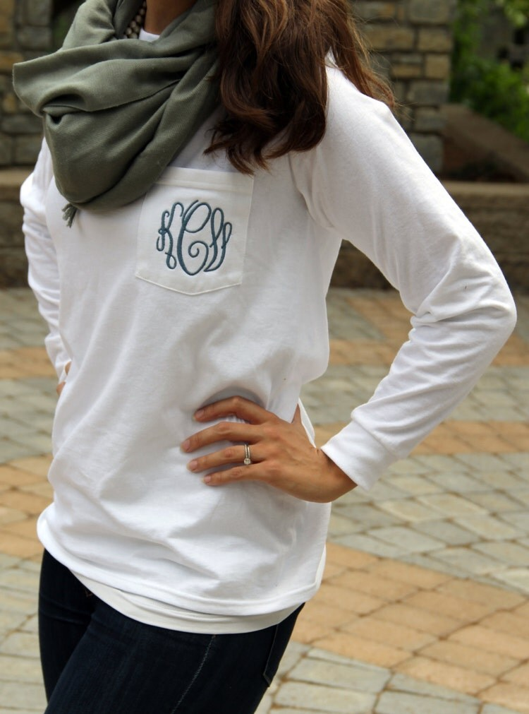 monogram long sleeve pocket tee shirt by sembroideredboutique