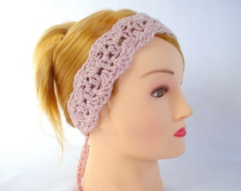 Crochet tie back headband Womens crochet headband Crochet hairband Hippie Boho Tieback lace headband Spring head accessory Crochet hair band