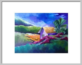 Le Heure Bleu, Landscape, Fine Art Print, 18 X14 Purple, Green, Blue, yellow Cottage painting by Nicky Spaulding