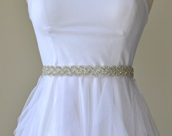 "Ready to ship -1"" Wedding Sash/Belt,Bridal Sash,lace Sash,Beaded Sash, Satin Wedding Sash"