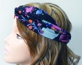 Black Pink Blue Floral Print Turban Headband Silk Stretch Jersey Head Wrap Elastic Back Womens Head Scarf Flower Pattern Hairband Bandana