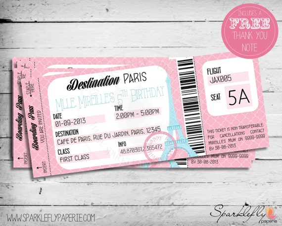 Boarding Pass Ticket to Paris Birthday Invitation by – Ticket Style Birthday Invitations