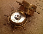 Reduced 130 dollars off Salem ship wheel clock with key, and barometer, brass and they work!