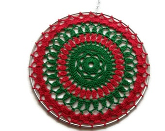 Handmade Home Decor  Crochet Suncatcher in Red Green   For the Home or Office  Great Gifts
