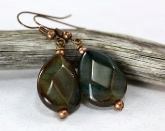 Sea Green Fire Agate Earrings, Blue Green Earrings, Agate Earrings