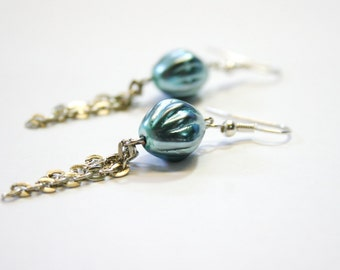 Czech Glass Earrings, Blue and Silver Earrings, Dangle Earrings, OOAK Jewelry
