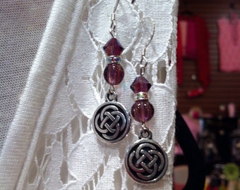 Amethyst and sterling silver pierced earrings with Celtic charms.