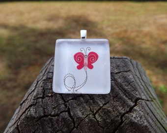 Glass Tile Necklace - Cute Butterfly