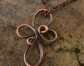 Antiqued Copper Wire Wrapped Cross Necklace