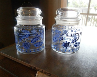 SALE! Storage Jars Decorated Blue Flowers, Leaves, Apothecary Jars 1970s Was 23.50 Now 18.50