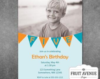Boys Birthday Party Invitation with Photo - Printable