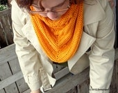 Hand Crochet Pumpkin Orange Scarf, Textured Triangle Shawlette, Fall Fashion, Autumn Women's Accessories - SweetheartsStitches
