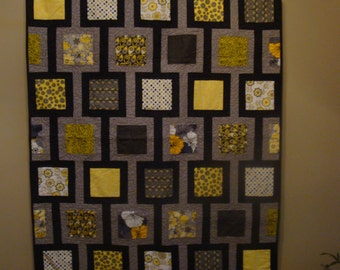 REDUCED: Striking Black, Gray & Yellow Quilt