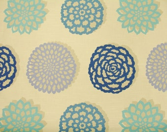 home decor fabric designer fabric blue floral periwinkle teal seafoam blue - Home Decor Fabrics By The Yard