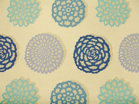 Home Decor Fabric Designer Fabric Blue Floral Periwinkle