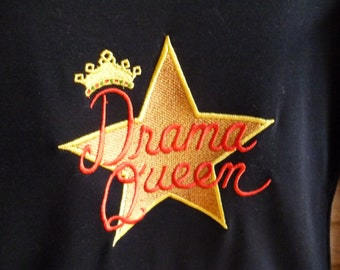"Black ""Drama Queen"" long sleeved embroidered T-shirt"