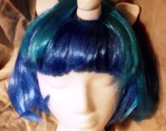 Blue Unicorn Wig Scratch DJ Pon 3 Vinyl Wig Unicorn Horn Costume Cosplay MLP