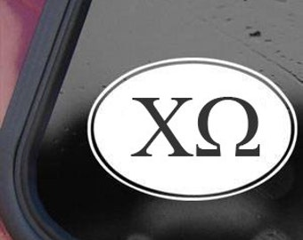 """Chi Omega Euro Oval Sorority/Fraternity College 6"""" Vinyl Decal Window Sticker for Car, Truck, Motorcycle, Laptop, Ipad, Window, Wall, ETC"""