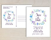 Rustic Boho Floral Wedding Invitation, Save the Date, Postcard, Purple