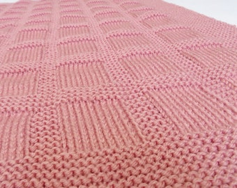 Knitting Pattern: Knit Baby Blanket Pattern Checks and Blocks