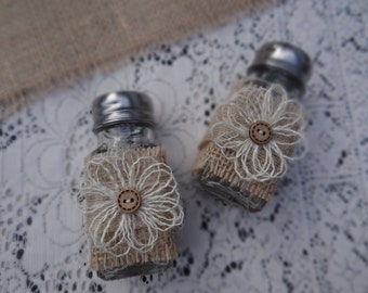 Burlap Flowers Salt & Pepper Shakers / Country Outdoor Wedding Table Decorations
