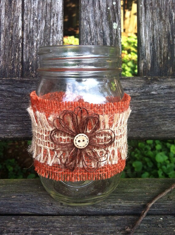 Items similar to burlap mason jar wraps fall wedding