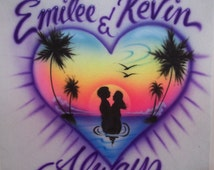 Airbrushed t shirt  beach heart for couples. together forever personalized lovers airbrush t-shirt