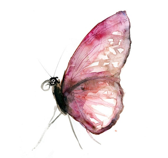 Original watercolor painting of a pink butterfly. by ...