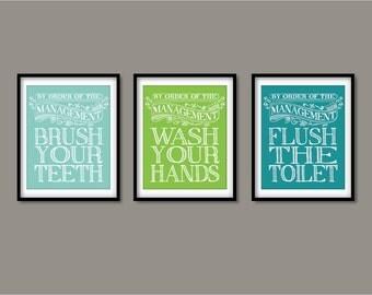 Bathroom Decor - Kids Room Art print wall decor, Bathroom art - Brush your teeth, Wash your hands, Flush the toilet