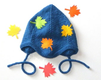 Knitted baby autumn hat dark blue baby hat with autumn leaves baby pilot hat Size 9-12 Months Ready to ship