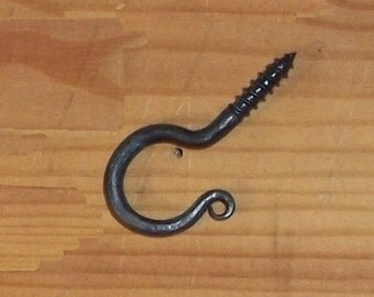 Small Wrought Iron Rat Tail Screw Hook Blacksmith Forged - MADE TO ORDER