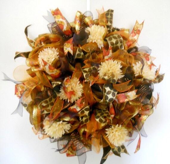 Fall deco mesh door wreath fall ribbon mesh by artificialwreaths