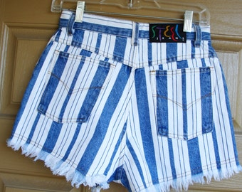 Vintage 80s 90s striped high waisted medium size 9 denim jean shorts cut off by steel 1980s 1990s