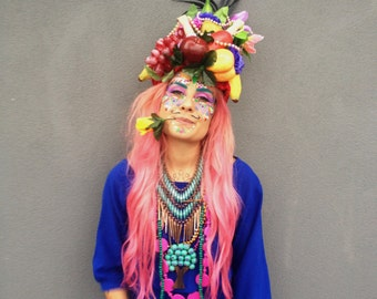 Quirky Fruit hat headress carmen Miranda, fashion, headdress, festival, headpiece