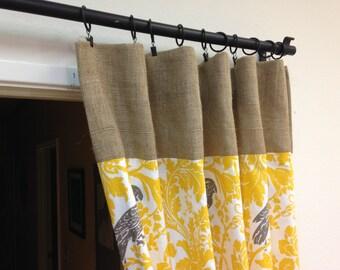 Yellow Burlap Curtains, Burlap Curtains, Rod PocketBurlap Curtain, Clip Ring Curtain, Burlap Drapes, Custom Burlap Window Treatments