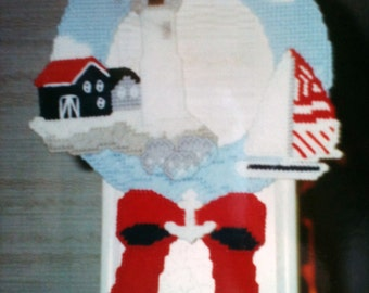 Lighthouse Wreath needlepoint plastic canvas