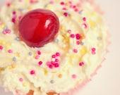 Food Photography, Cherry Cupcake, Kitchen Decor, Sprinkles, Fine Art print