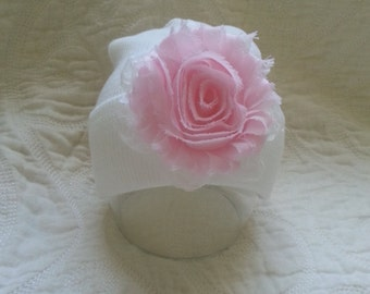 Hospital Newborn Beanie, Baby Girl Hat, Newborn Hospital Hat,  Newborn's First Flower! Shabby Chic <3