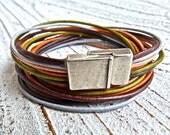 Leather bracelet #79,Ladies bracelet,handmade jewelry, Multi-strand, Bracelet to wrap, brown mixed, Boho Chic,Gypsy Bracelet, Women,bracelet