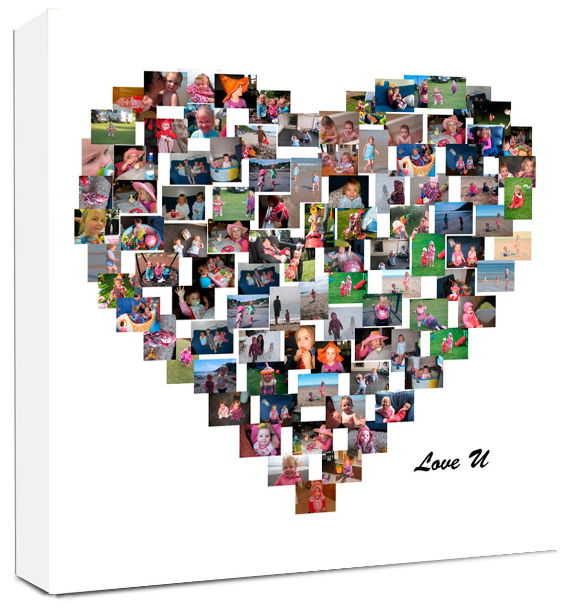 personalised collage heart shape photo collage on canvas. Black Bedroom Furniture Sets. Home Design Ideas