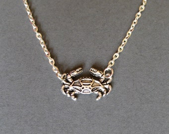 Little crab necklace - charm necklace - seaside gift - silver crab necklace - UK seller
