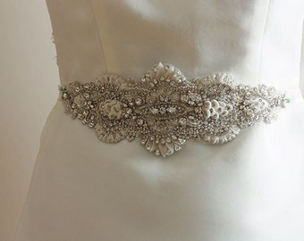 Bridal Sash in ivory and offwhite - Ubedha 11 inches ( Made to Order)