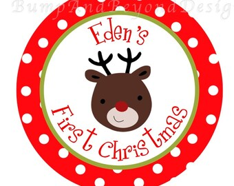Christmas Iron on Transfer DIY - My First Christmas Red Green Reindeer Christmas Baby Boy Girl Iron On Custom Personalized Name - Eden