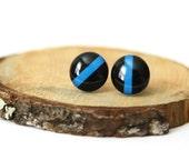 Thin Blue Line Earrings . Police Studs . Black & Blue Earrings . Stud Earrings . Post Earrings . Hand Drawn Post Earrings