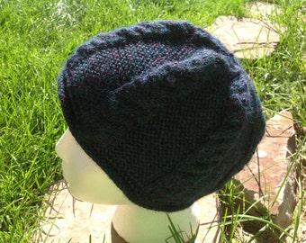 Blue cable knit hat