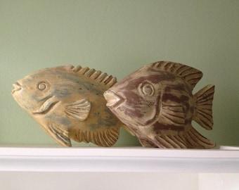 Set of 2 Vintage Decorative Fish