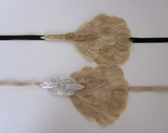 Beige Gatsby Headband for 1920s Gatsby dress Art Deco Headpiece Flapper Head piece