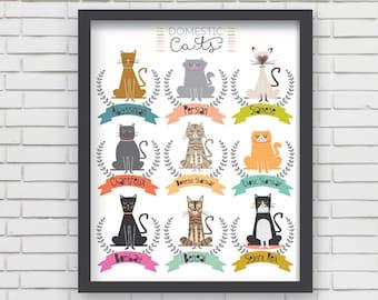Domestic Cats Wall Art Print Home Decor, Cat Art Print - I Love Cats! Print