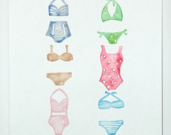Swimsuit Collection ORIGINAL Watercolor Painting 12x9inch